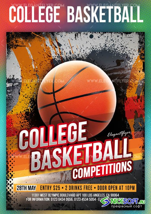 College Basketball Competitions V1 2019 PSD Flyer Template + Facebook Cover + Instagram Post