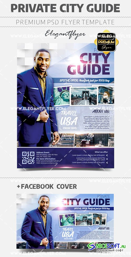 Private City Guide V1 2019 Flyer PSD Template + Facebook Cover + Instagram Post