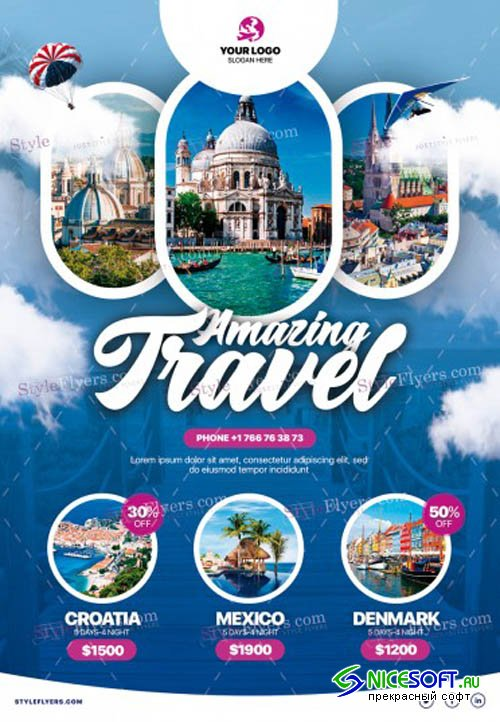Travel V8 2019 PSD Flyer Template