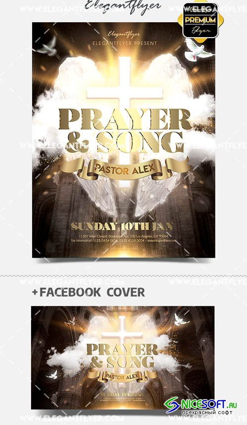 Prayer and Song V1 2019 Flyer PSD Template + Facebook Cover + Instagram Post