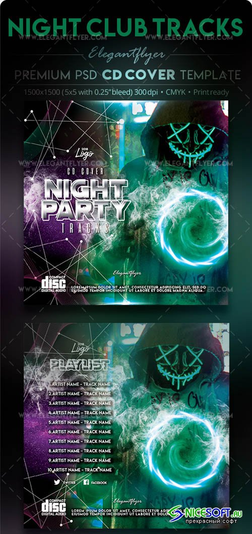 Night Club Tracks V1 2019 PSD CD Cover Template