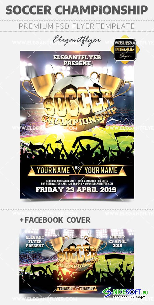 Soccer Championship V4 2019 PSD Flyer Template + Facebook Cover + Instagram Post