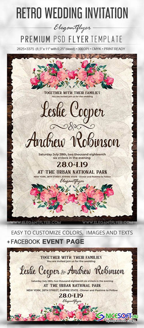 Retro Wedding Invitation V1 2019 Flyer PSD Template + Facebook Cover + Instagram Post