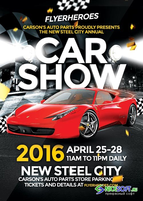 Car Show psd flyer template
