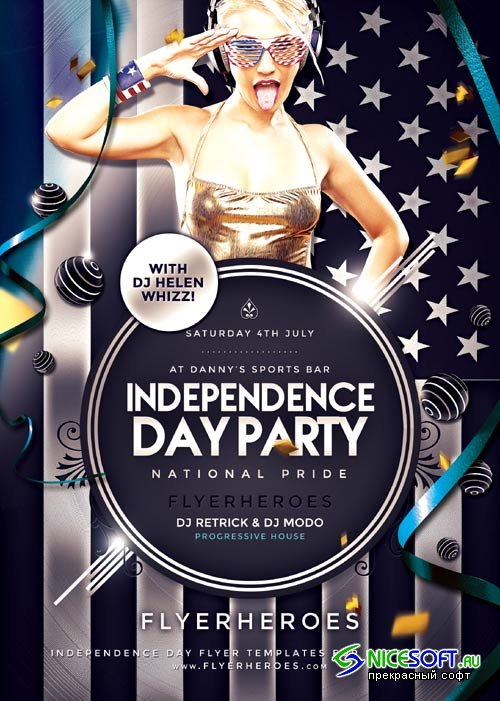 Independence Day Party psd flyer template
