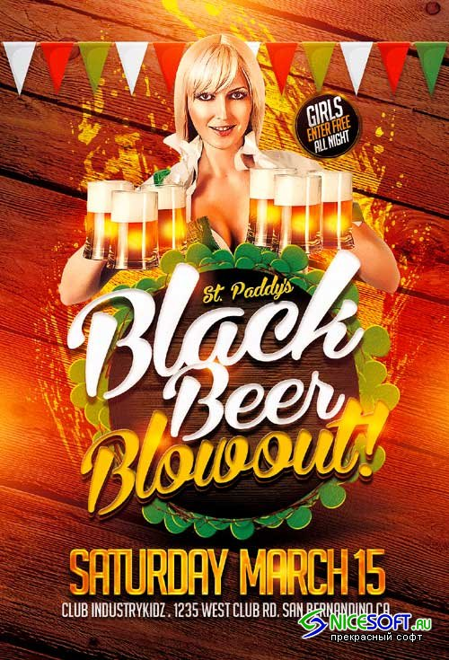 Black Beer Blowout psd flyer template