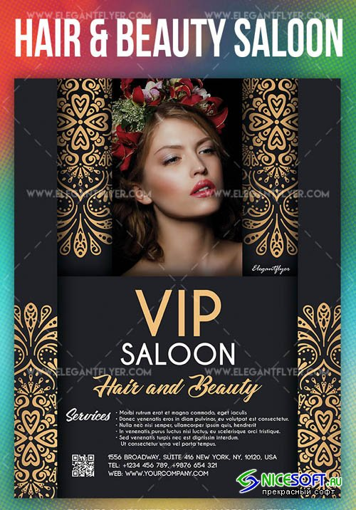 VIP Hair and Beauty Saloon V1 2019 Flyer PSD Template + Facebook Cover + Instagram Post