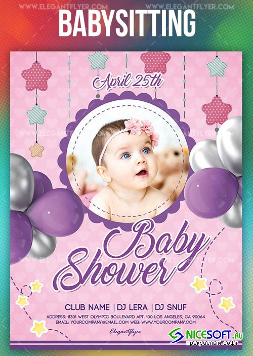 Baby Shower Party V9 2019 Flyer PSD Template + Facebook Cover + Instagram Post