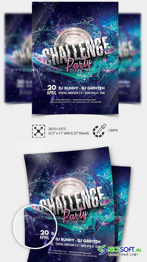 Challenge Party V1 2019 Flyer PSD Template