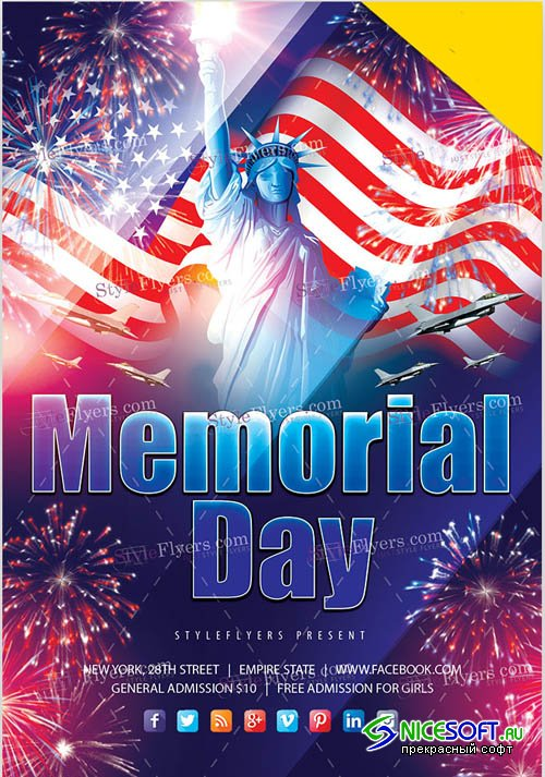 Memorial Day V18 2019 PSD Flyer Template