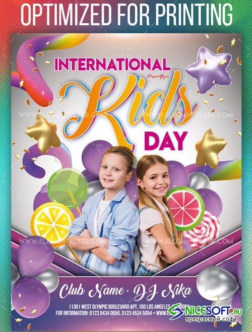 International Kids Day Invitation Premium Flyer Template in PSD