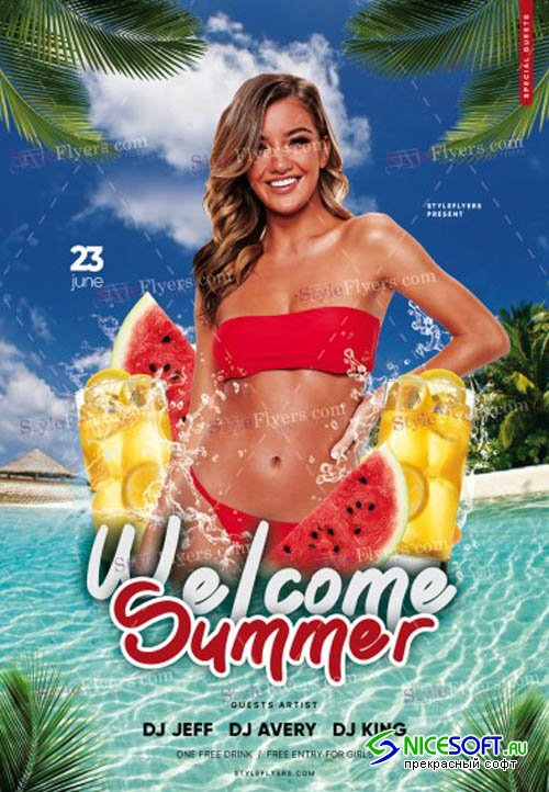 Welcome Summer V1 2019 PSD Flyer Template