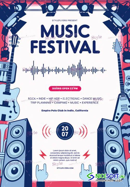 Music Festival V7 2019 PSD Flyer Template