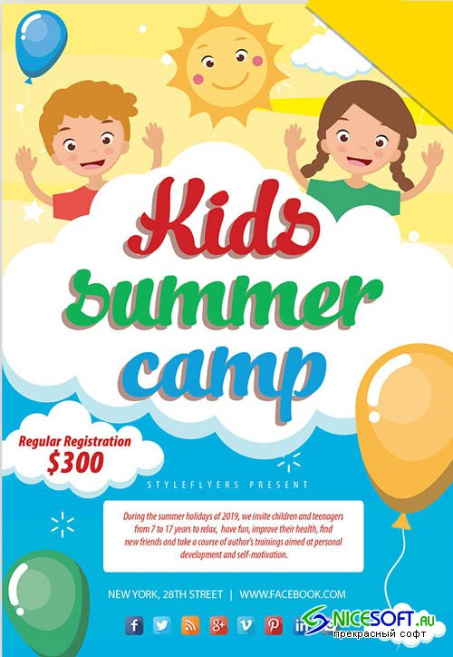 Kids Summer Camp V8 2019 PSD Flyer Template