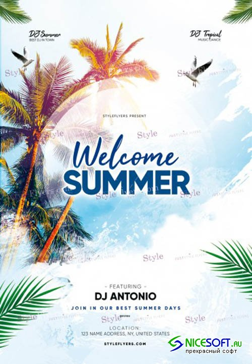 Welcome Summer V8 2019 PSD Flyer Template