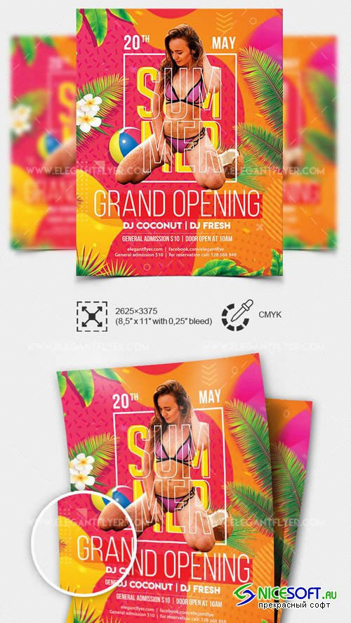Summer Club Grand Opening V1 2019  Premium Flyer Template in PSD