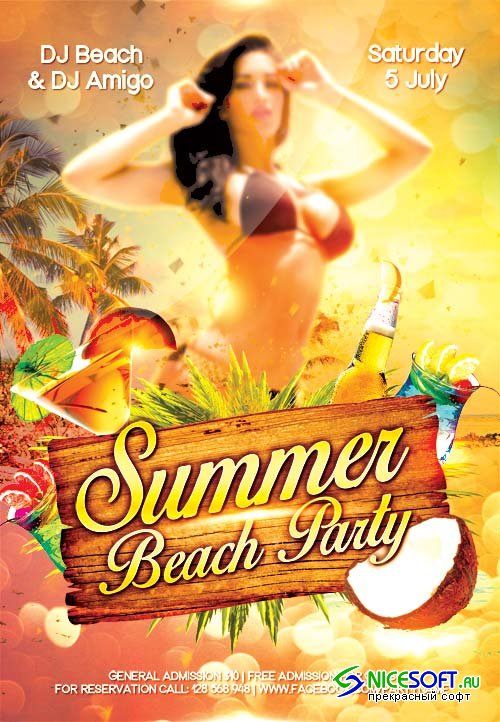 Summer Beach Party 3 psd flyer template