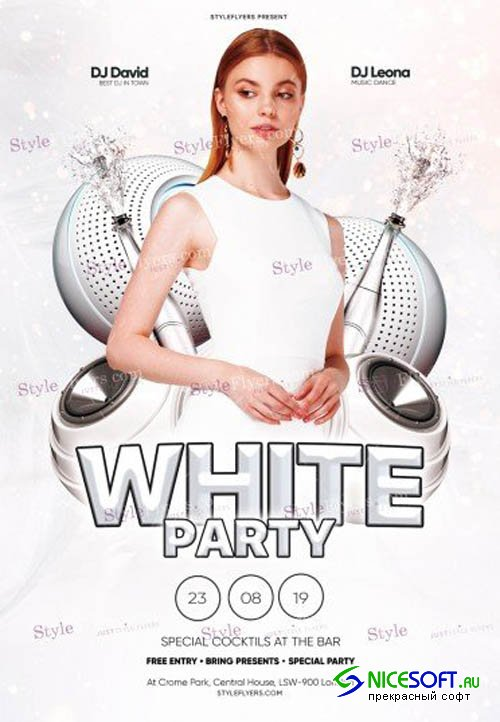White Party V11 2019 PSD Flyer Template