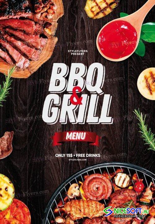 BBQ & Grill Menu V1 2019 PSD Flyer Template