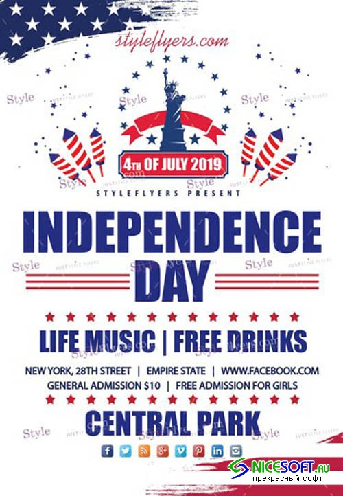 Independence Day Party V7 2019 PSD Flyer Template