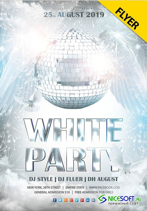 White Party V12 2019 Flyer PSD Template