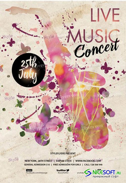 Live Music Concert V3 2019 PSD Flyer Template