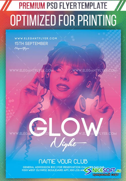 Glow Night V27 2019 Premium Flyer Template in PSD