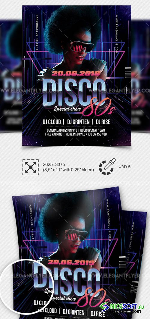 Disco 80s V1 2019 Premium Flyer Template in PSD