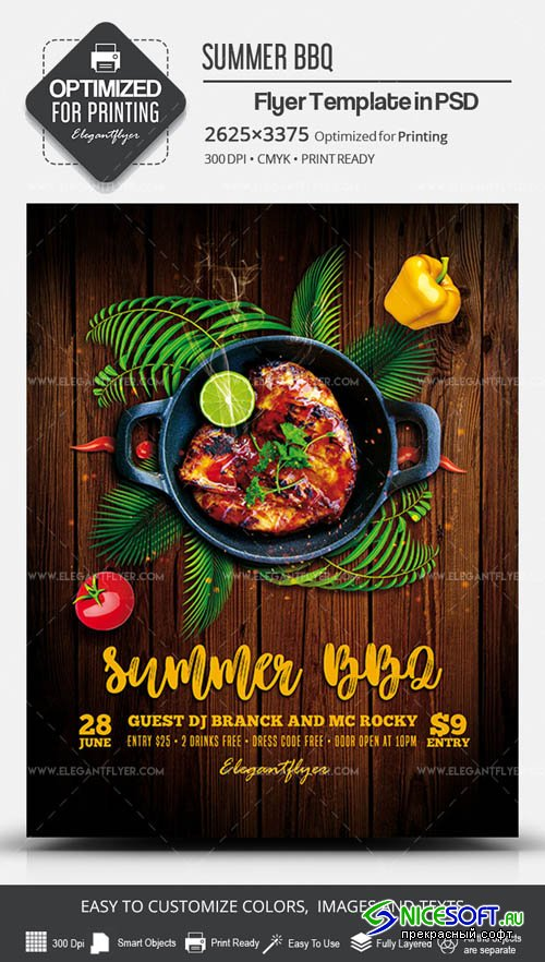 Summer BBQ V7 2019 PSD Flyer Template