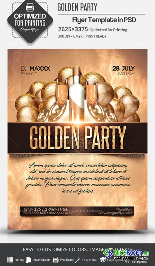 Golden Party V7 2019 PSD Flyer Template