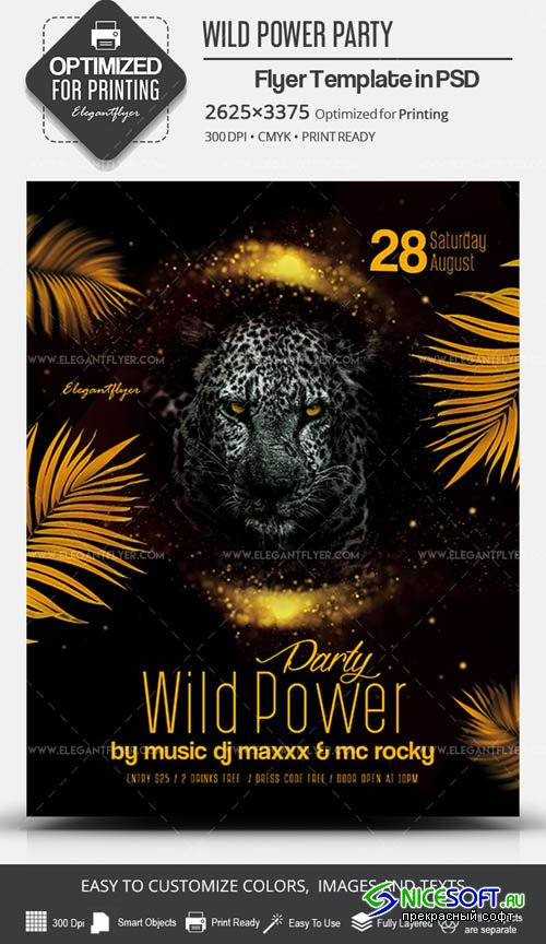 Wild Power Party V7 2019 PSD Flyer Template