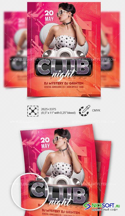Club Night V7 2019 Flyer Template in PSD