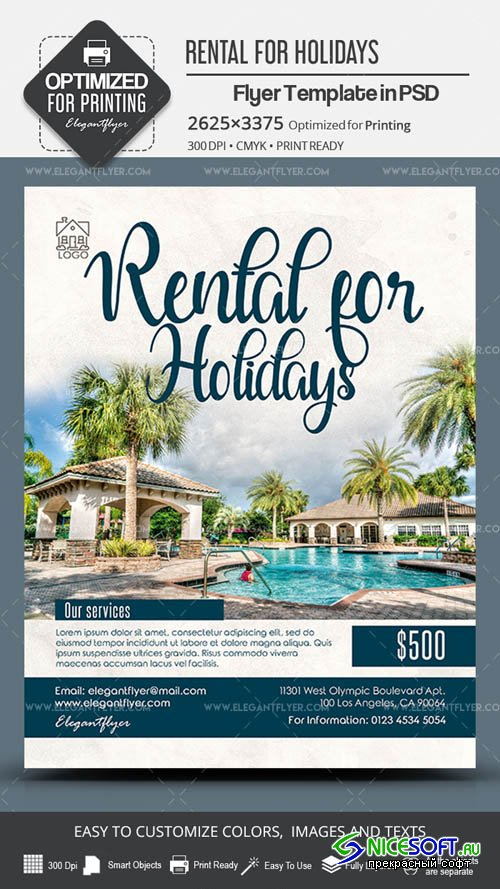 Rental for Holidays V7 2019 PSD Flyer Template