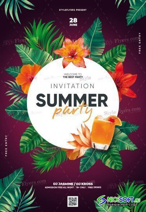 Summer Party Invitation V16 2019 PSD Flyer Template