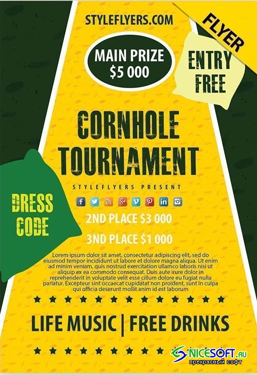Cornhole Tournament V24_07 2019 Flyer PSD Template