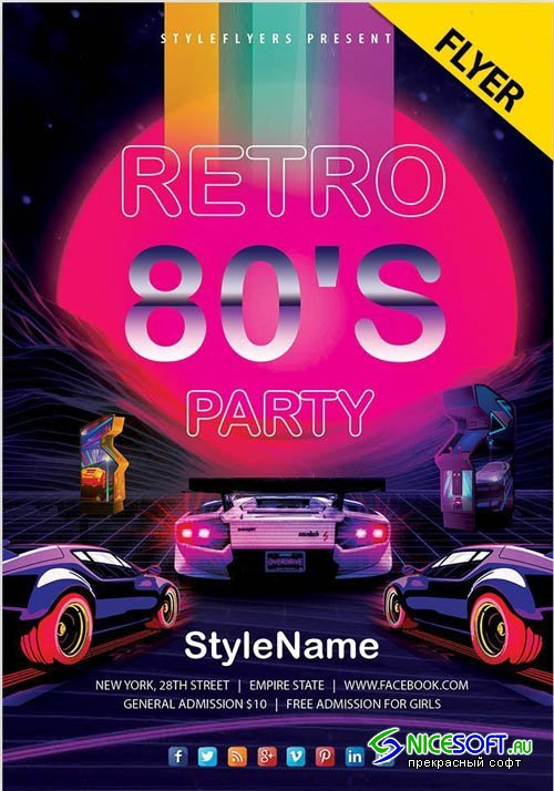 80's Retro Party V24_07  2019 Flyer PSD