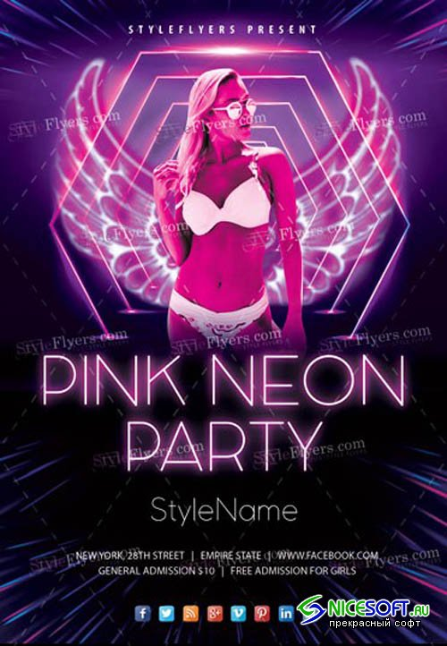 Pink Neon V18_07 2019 Party Flyer