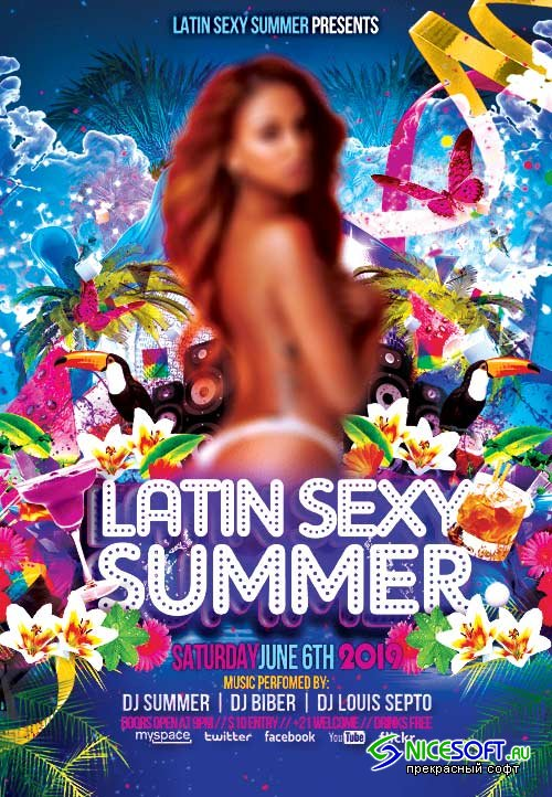 Latin sexy summer psd flyer template
