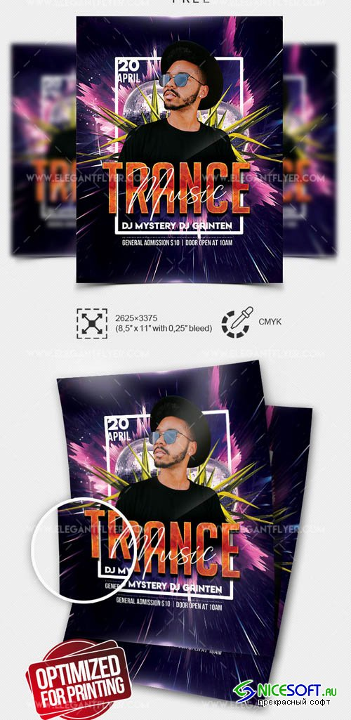 Trance Music V0708 2019 Flyer Template in PSD