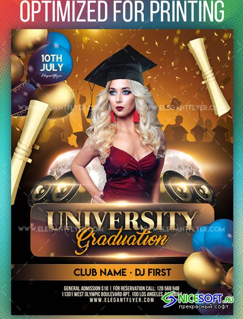 University Graduation V1208 2019 Flyer PSD Template