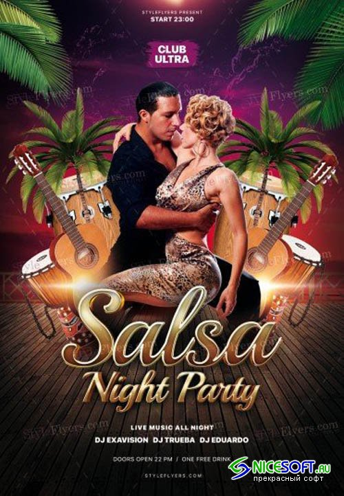 Salsa Night Party V2208 2019 PSD Flyer Template