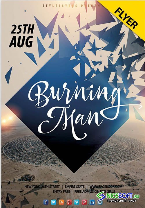 Burning Man PSD V2208 2019 Flyer PSD Template