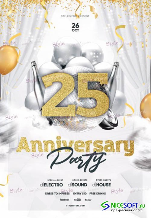 Anniversary Party V2908 2019 PSD Flyer Template