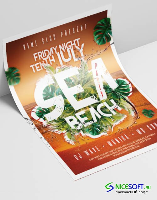 Sea Beach Party V2908 2019 Premium PSD Flyer Template