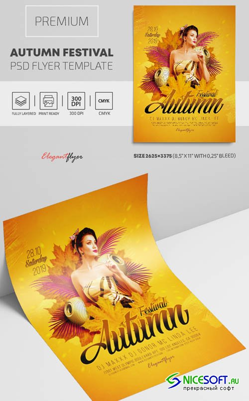 Autumn Festival V1809 2019 PSD Flyer Template