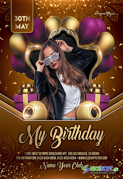 My Birthday Party V2709 2019 Premium PSD Flyer Template