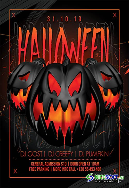Halloween Night V03104 2019 Premium PSD Flyer Template
