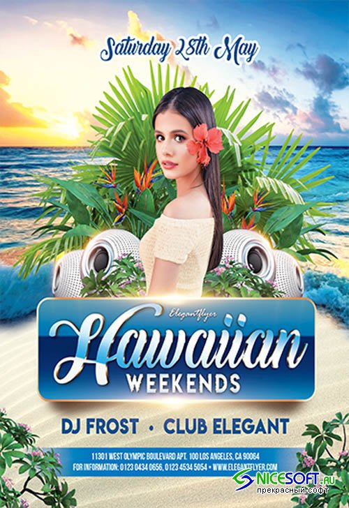 Hawaiian Weekends V2809 2019 Premium PSD Flyer Template