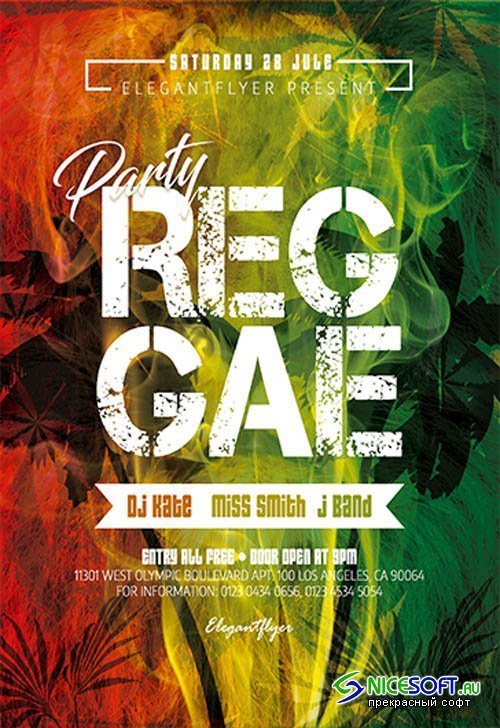 Reggae Party V2809 2019 Premium PSD Flyer Template