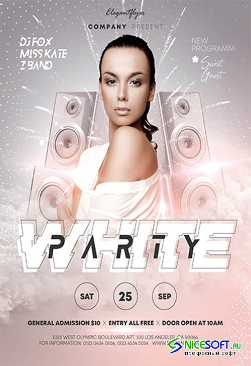 White Party V0910 2019 Premium PSD Flyer Template
